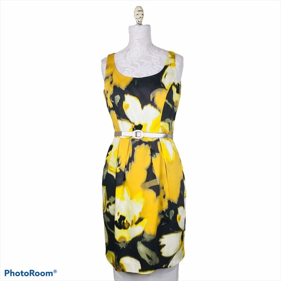 Eliza J yellow brown and crème floral dress womens